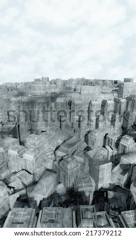 Aerial view of city buildings  - stock photo