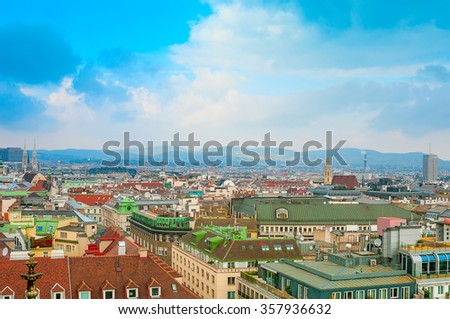 Aerial view of city center Vienna  from St. Stephen's Cathedral  - stock photo
