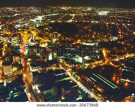 Aerial View of City Lights in Auckland New Zealand's Sky Tower - stock photo
