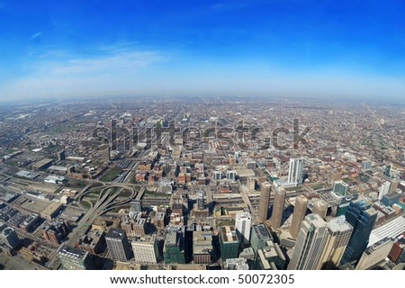 aerial view of city of Chicago - stock photo