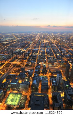 Aerial view of city of Chicago at sunset - stock photo