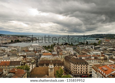 aerial view of city of Geneva and Lake in Switzerland, Europe - stock photo