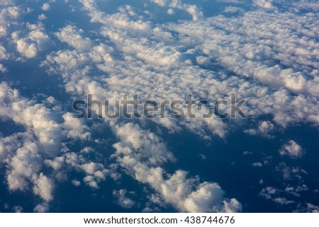 Aerial View of  cloudscape from Airplane - stock photo