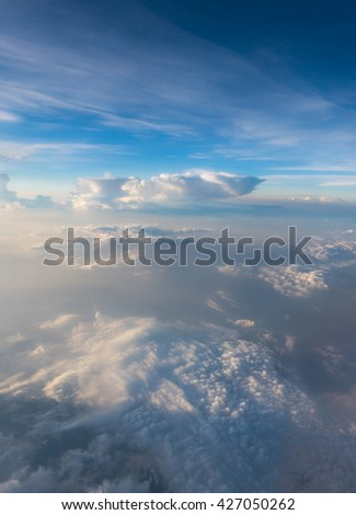 aerial view of cloudy sky - stock photo