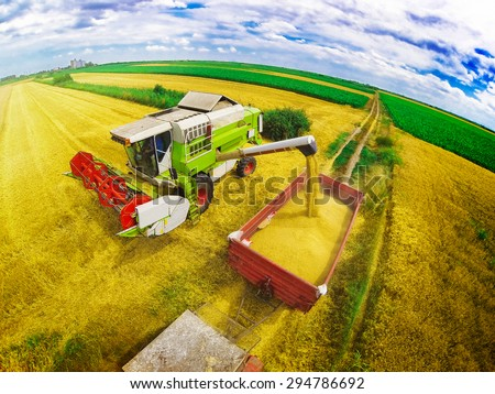 Aerial view of combine on harvest field in Serbia loading trailer with wheat. Wide angle shot. - stock photo