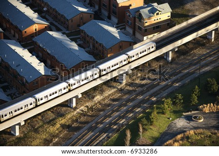 Aerial view of commuter train in Chicago, Illinois. - stock photo