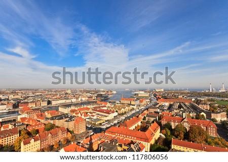 Aerial view of Copenhagen, Denmark - stock photo