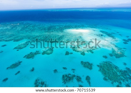 Aerial view of coral sand cay on Great Barrier Reef, Queensland, Australia - stock photo
