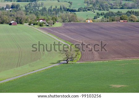 Aerial view of countryside landscapes - stock photo