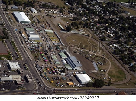 aerial view of county fair in progress - stock photo