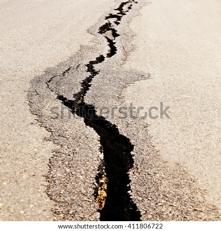 Aerial view of Cracked road after the earthquake - stock photo