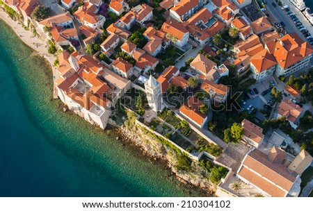 aerial view of croatia coast line Rab island - stock photo