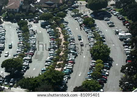 Aerial view of crowded parking lot - stock photo