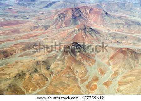 Aerial view of Damaraland landscape in Namibia