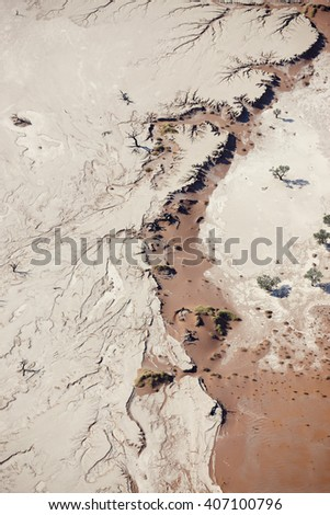 Aerial view of Deadvlei in Sossusvlei, Namibia, Africa. - stock photo