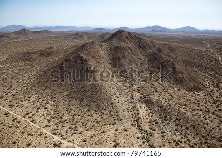 Aerial view of Desert landscape between Phoenix and Tucson, Arizona near Interstate 10 - stock photo