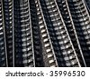 Aerial view of details of railway tracks - stock photo