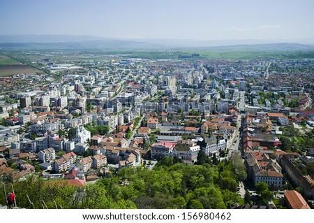 Aerial view of Deva city in Transylvania - stock photo