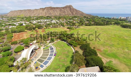 Aerial view of Diamond Head, Kapiolani Park, and Waikiki Shell auditorium in Honolulu, Hawaii - stock photo