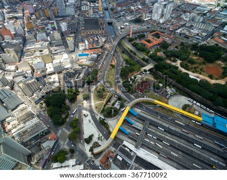 Aerial View of Dom Pedro II Bus Station and Municipal Market, Sao Paulo, Brazil - stock photo