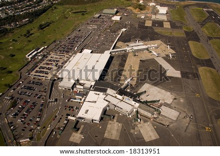 Aerial view of domestic and international termimals at Wellington Airport - stock photo