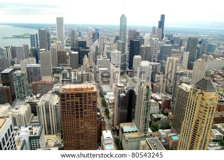 Aerial View of Downtown Chicago, Illinois - stock photo