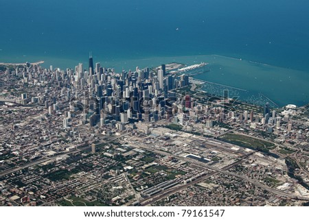 Aerial view of downtown Chicago with Lake Michigan - stock photo