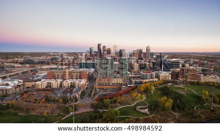Aerial view of downtown denver from Commons Park.