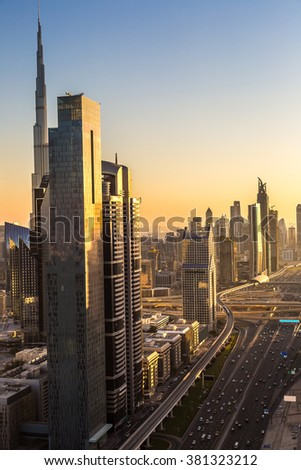 Aerial view of downtown Dubai in a summer day, United Arab Emirates