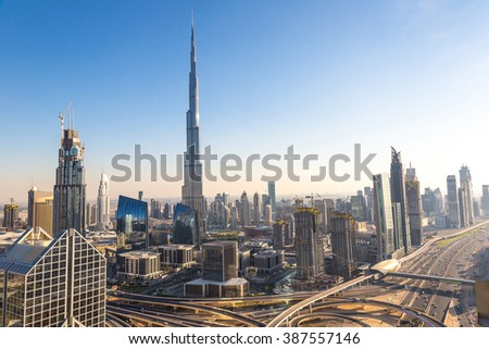 Aerial view of downtown Dubai in a summer day, United Arab Emirates - stock photo