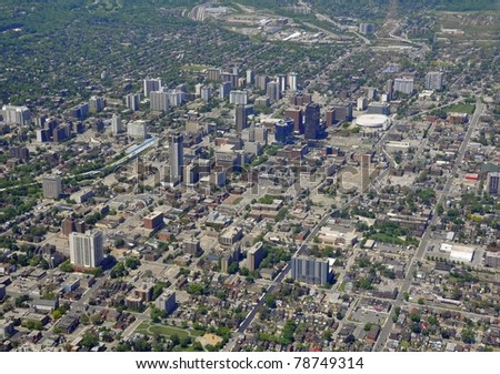 aerial view of downtown Hamilton Ontario.late Spring