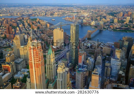 Aerial view of Downtown Manhatton New York at sunset - stock photo