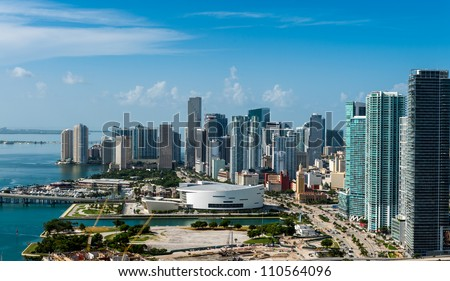 Aerial view of downtown Miami. All logos and advertising removed. - stock photo
