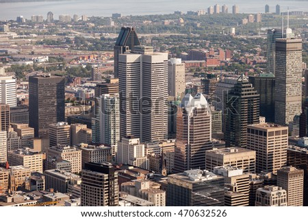 Aerial view of downtown Montreal and its skyscrapers on a sunny summer day. Quebec, Canada.