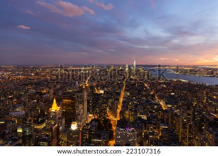 aerial view of downtown New York city at night - stock photo