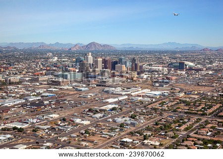 Aerial view of Downtown Phoenix, Arizona Skyline looking to the northeast - stock photo