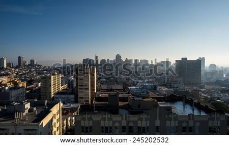 Aerial view of downtown San Francisco's hills and neighborhoods - stock photo
