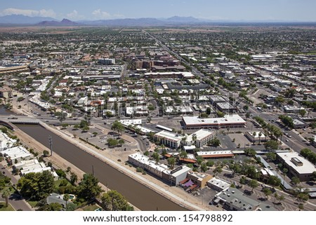 Aerial view of downtown Scottsdale, Arizona looking towards the east - stock photo
