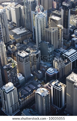 Aerial view of downtown skyscrapers in Sydney, Australia.
