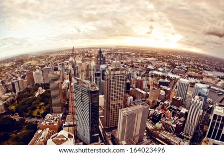 Aerial view of downtown Sydney at sunset, Australia. - stock photo
