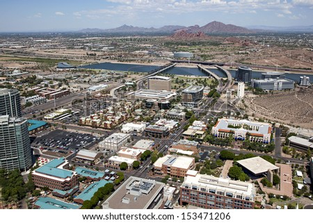 Aerial view of downtown Tempe, Arizona and town lake - stock photo