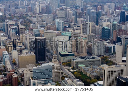 aerial view of downtown toronto - stock photo