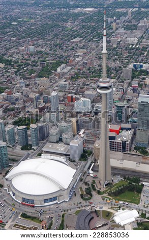 Aerial view of downtown Toronto in overcast weather - stock photo