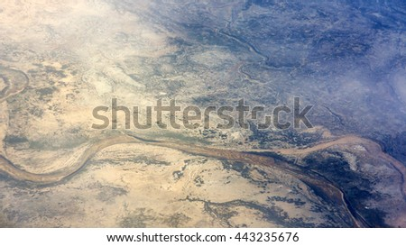 Aerial view of dried up river.