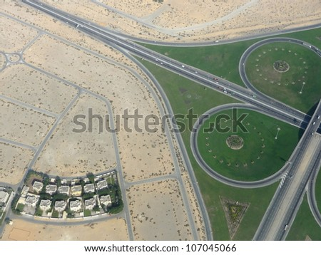 aerial view of dubai, a emirate within the United Arab Emirates - stock photo