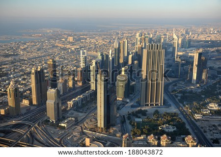 Aerial view of Dubai downtown with modern skyscrapers, Dubai - United Arab Emirates - stock photo