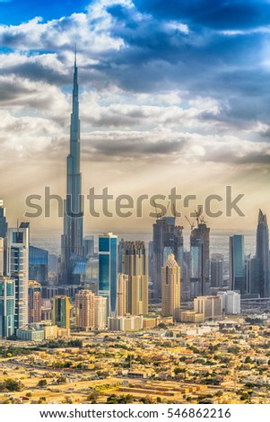 Aerial view of Dubai skyline.