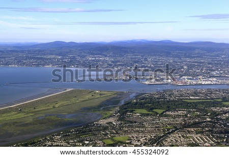 Aerial view of Dublin Bay, Ireland