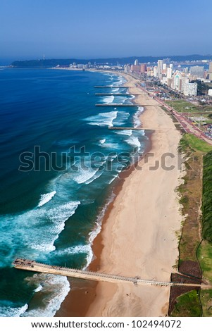 aerial view of durban, south africa - stock photo
