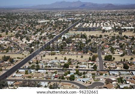 Aerial view of east valley neighborhood, Mesa, Arizona - stock photo